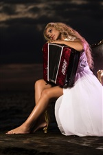 Preview iPhone wallpaper Blonde girl, chair, accordion