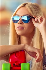 Preview iPhone wallpaper Blonde girl, sunglasses, skateboard