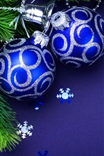 Preview iPhone wallpaper Blue Christmas balls, twigs, bells
