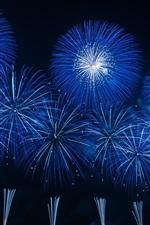 Blue fireworks, night, holiday