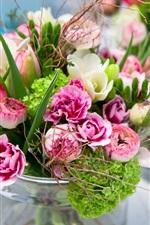 Preview iPhone wallpaper Bouquet, flowers, vase, blur background