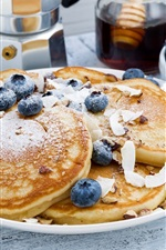 Preview iPhone wallpaper Breakfast, pancake, coffee, blueberries