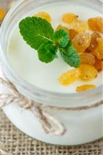 Café da manhã, iogurte, hortelã, passas