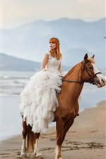 Preview iPhone wallpaper Bride, girl, horse, beach, sea