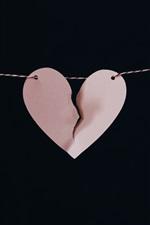 iPhone обои Сломанное сердце любви, бумага, веревка, ночь