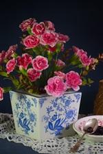 미리보기 iPhone 배경 화면 카네이션, 핑크 꽃, 바구니, 와인
