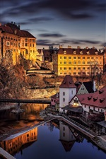 Preview iPhone wallpaper Cesky, Krumlov, city, night, river, bridge, lights, houses