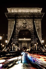 Preview iPhone wallpaper Chain bridge, Hungary, Budapest, night, cars, lights