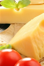 Preview iPhone wallpaper Cheese, grapes, tomatoes, food, fruit