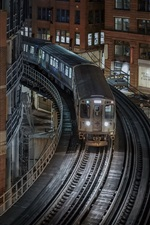 Chicago, Illinois, buildings, houses, railroad, train