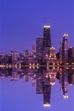Preview iPhone wallpaper Chicago, water reflection, skyscrapers, lights, night, North Michigan, USA