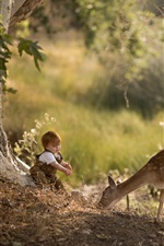 Child boy and deer in the forest