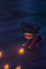 Preview iPhone wallpaper Child girl and boats, river, night, art picture