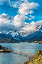Preview iPhone wallpaper Chile, mountains, houses, bridge, lake