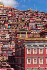 Preview iPhone wallpaper China, Tibet, monastery, houses