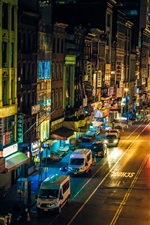 Preview iPhone wallpaper Chinatown, New York, Manhattan, USA, night, street, shops, cars, lights