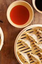 Preview iPhone wallpaper Chinese food, dumplings, sticks