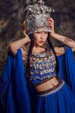 Preview iPhone wallpaper Chinese girl, tattoo, headdress, blue dress