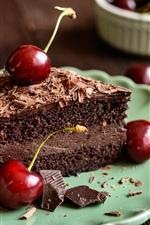 iPhone обои Шоколадный торт, красная вишня, еда