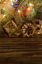 iPhone fondos de pantalla Decoración de Navidad, bolas, regalo, ramitas, luces
