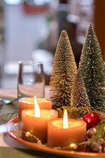 Preview iPhone wallpaper Christmas decoration, trees, candles, fire, bokeh