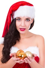 Preview iPhone wallpaper Christmas girl, hat, balls, white background
