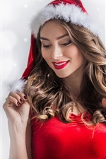 Preview iPhone wallpaper Christmas girl, smile, hat, red dress