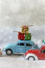 Preview iPhone wallpaper Christmas trees, toy cars, gifts, snowy