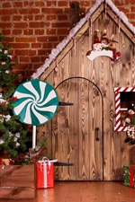 Christmas, trees, wood house, gifts, candy, decoration