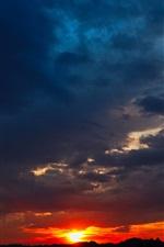 iPhone fondos de pantalla Nubes, puesta de sol, cielo, paisaje de atardecer