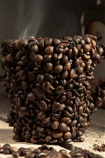 Preview iPhone wallpaper Coffee beans cup, steam, spoon