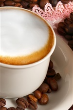 Preview iPhone wallpaper Coffee, cup, coffee beans, bread