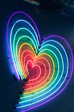 Preview iPhone wallpaper Colorful neon love hearts, night