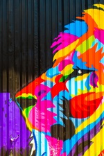 Preview iPhone wallpaper Colorful paint, fence, graffiti, lion