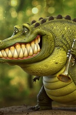 Preview iPhone wallpaper Crocodile, trumpeter, art picture