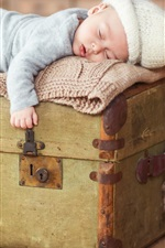 iPhone обои Симпатичный детский сон на чемодане