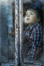 Preview iPhone wallpaper Cute boy look out window, snowy