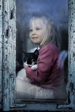 Preview iPhone wallpaper Cute child girl and kitten, look out window