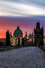 Preview iPhone wallpaper Czech Republic, Prague, Charles bridge, statue, houses, sunset