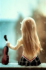 Preview iPhone wallpaper Doll girl, back view, violin, snow