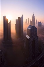 Preview iPhone wallpaper Dubai, UAE, city morning, skyscrapers, fog, roads