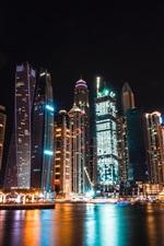 Preview iPhone wallpaper Dubai, UAE, skyscrapers, night, lights, river