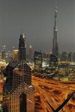 Preview iPhone wallpaper Dubai, UAE, urban, skyscraper, lights, roads