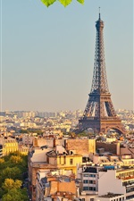 Preview iPhone wallpaper Eiffel tower, Paris, France, city, trees, green leaves