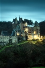 Preview iPhone wallpaper Eltz Castle, Germany, lights, night