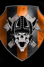Emblema, crânio, fundo preto