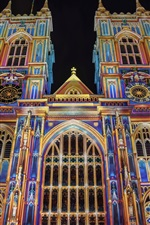 Preview iPhone wallpaper England, London, Westminster Abbey, colorful, night