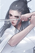 Fantasia garota, quimono, katana, desenho artístico