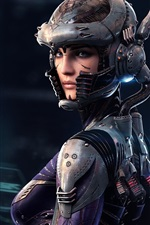 Preview iPhone wallpaper Fantasy girl look back, future, sci-fi, art picture