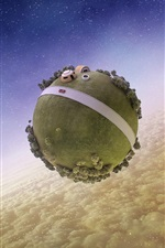 Fantasy world, planet, clouds, stars, space